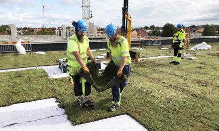 Sveriges största sedumtak med biokol monteras på nya Tinnerbäcksbadet i centrala Linköping